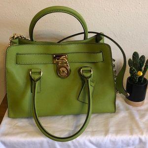 Michael Kors lime green saffiano leather Hamilton